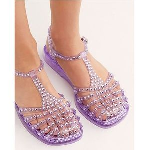 Free People Jelly Sandals Gemstone Embellished